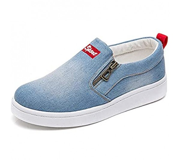 Another Summer Women's Denim Canvas Shoes Fashion Casual Zipper Slip-on Loafers