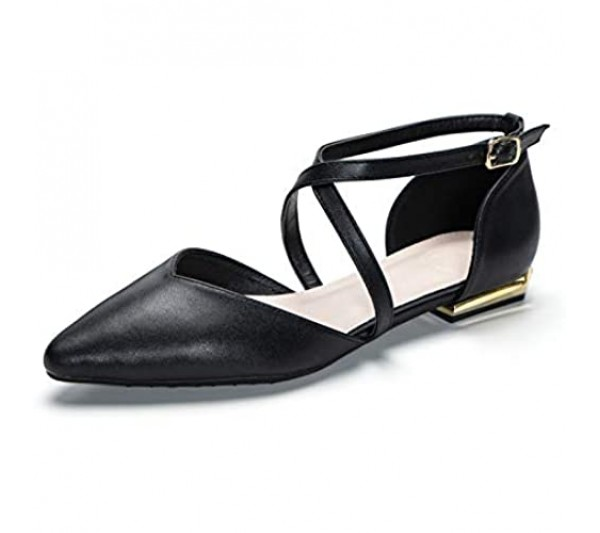 URELEGAN Pointed Toe Dressy Ballet Flats Criss Cross Ankle Strap Buckle Leather Flats Shoes
