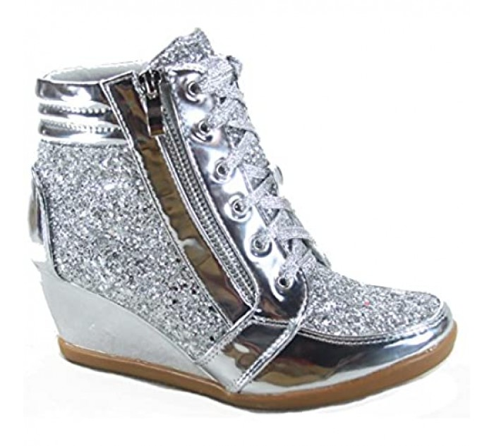 Forever Link Peggy-44 Women's Fashion Glitter High Top Lace Up Wedge Sneaker Shoes