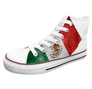 Ish Original Official Women Mexico Flag High Top Rubber Sole Casual Canvas Sneaker Shoes