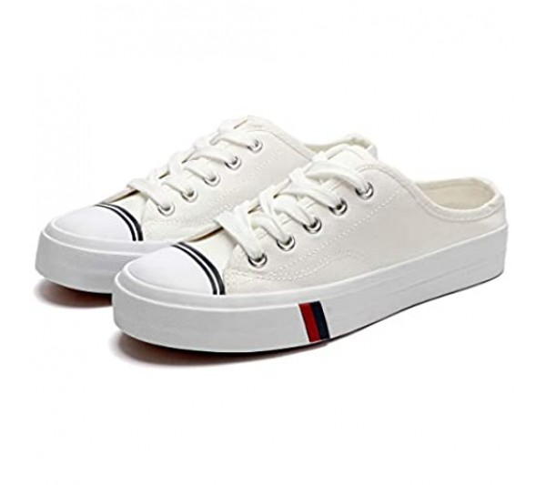 ZGR Womens Canvas Sneakers Low -Top Fashion Lace-up White Shoes