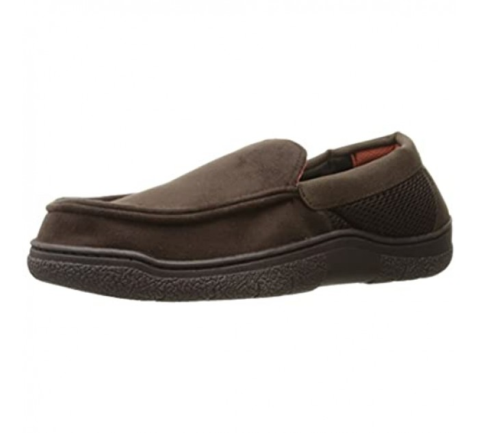 Dearfoams Men's Mixed Material Moccasin Coffee Small/7-8 M US