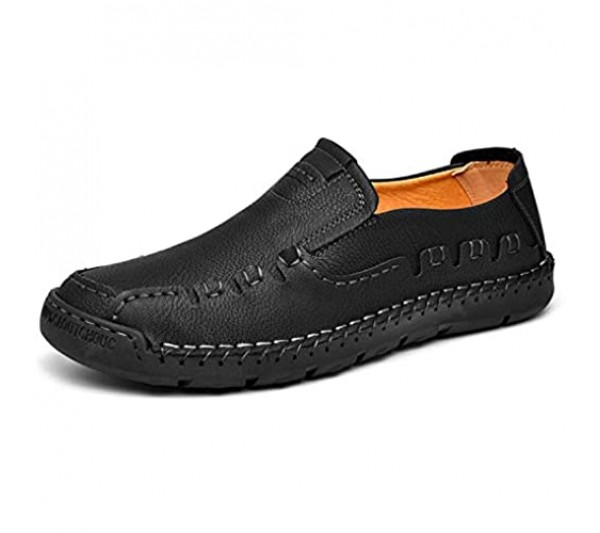 Men Casual Shoes Slip On Loafers Driving Flat Shoes Comfort Walking Sneakers Leather Shoes for Male Black