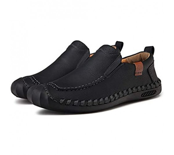 Moodeng Men`s Slip-on Shoes Leather Loafers Casual Outdoor Summer Boat Shoes Comfortable Driving Slippers