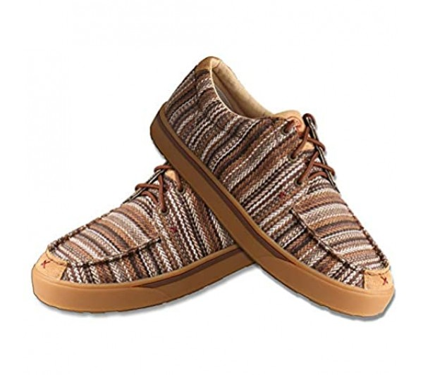 Twisted X Men's Hooey Loper - Slip-on or Lace-up Moisture-Wicking Loper Shoes for Men - Designed with Blended Rice Husk and Durable ecoTWX Material Brown & Multi 13 M