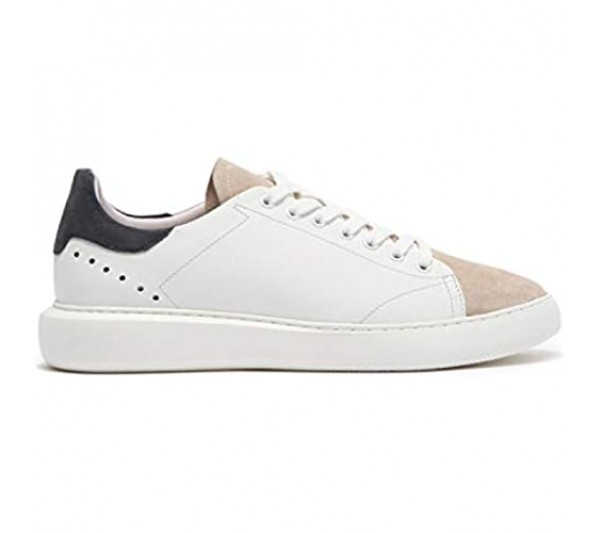 Modern Fiction Men's Shoe Constantia Casual Leather Sneaker. Sleek Low Top Fashion Sneaker with Mix Material Details a Breathable Textile Lining and Durable Non-Slip White Rubber Outsole.