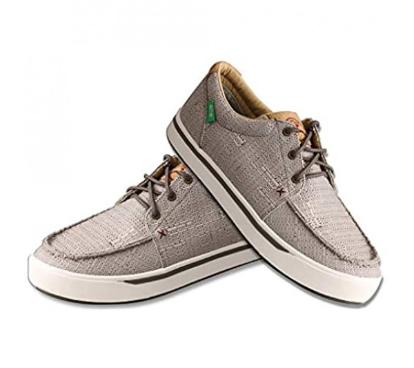Twisted X Men's Hooey Loper - Slip-on or Lace-up Moisture-Wicking Loper Shoes for Men - Designed with Blended Rice Husk and Durable ecoTWX Material Light Grey 10.5 M