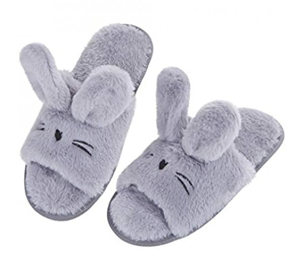 Cozy Memory Cute Bunny Open Toe Slippers For Women Fuzzy Fur Animals House Shoes Memory Foam Non-Skid Sole Indoor Outdoor