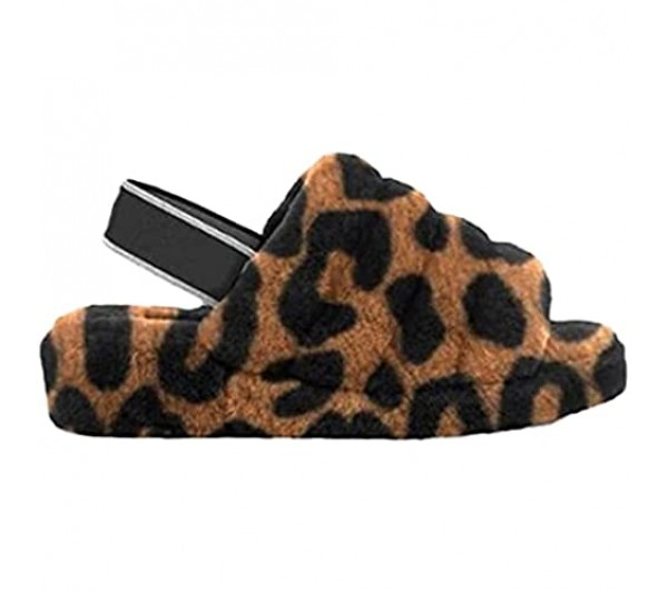 Kalon-Joi Brand Women's Fuzzy Sandals Open Toe Memory Foam Anti-Skid Fluffy Slide with Elastic Strap Comfy Warm Cozy Slip on Shoes Indoor Outdoor Leopard