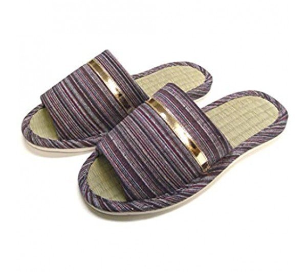 KNP21301/ Men House Slippers Wide Width Open-Toe Natural Bamboo House Slippers