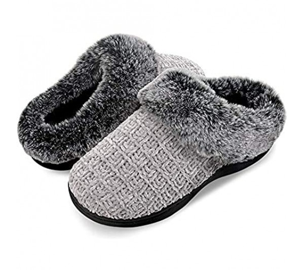 Women's House Slippers Plush Faux Fur Collar Chenille Knit Scuff Warm Ladies' Fuzzy Slip on House Shoes Memory Foam Indoor Outdoor Anti-Skid