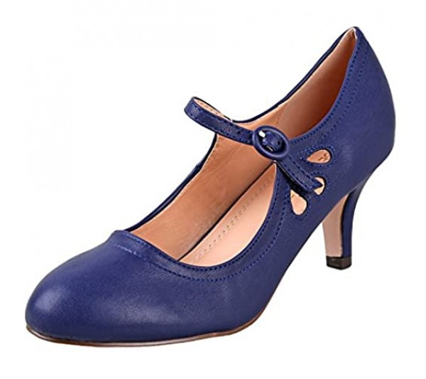 Chase & Chloe Women's Kimmy-21 Low | Mid Heel Shoes | Mary Jane | Pumps | Navy Low 9